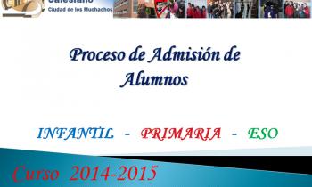 Proceso de admisión de alumnos curso 2014-2015