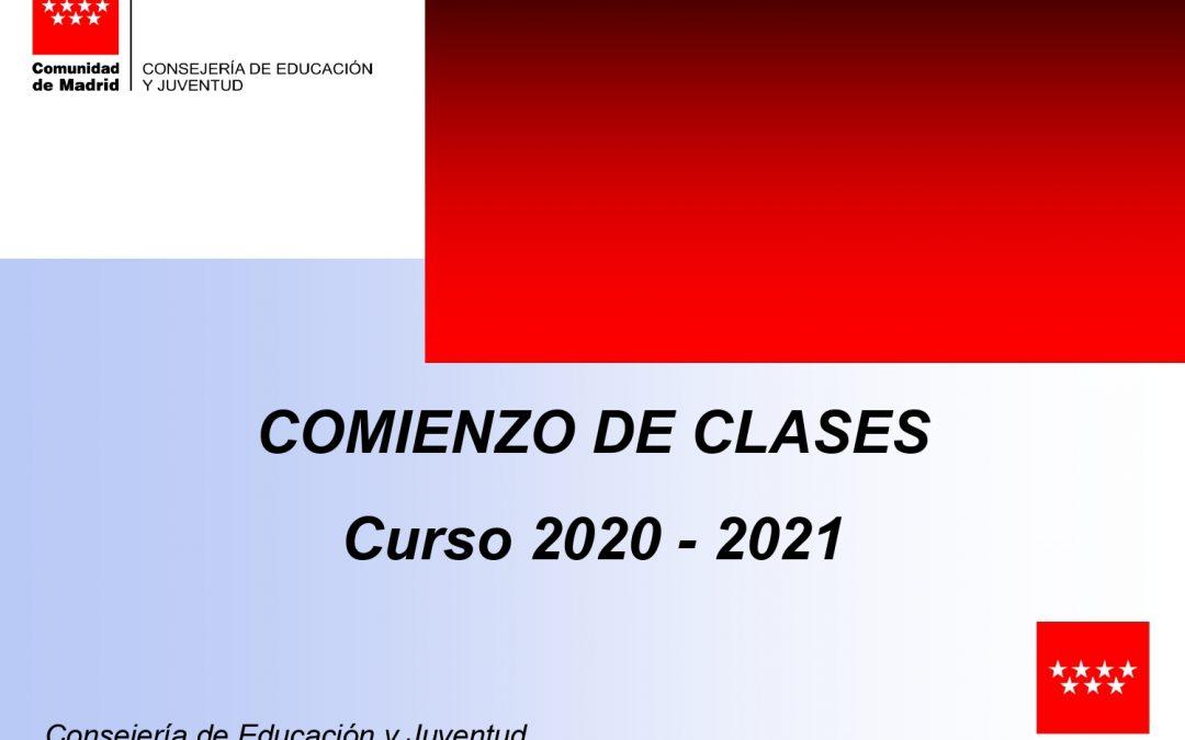 Modificación comienzo de clases curso 2020-21
